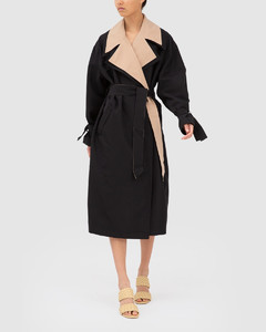 ELSEWHERE TRENCH Black W Tan