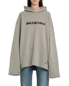 grey logo pixel no rib hoodie