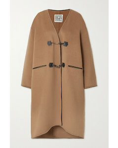 Leather-trimmed Brushed Wool And Cashmere-blend Coat