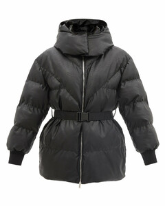 Kayla hooded quilted faux leather jacket