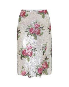 花卉網布中長半身裙