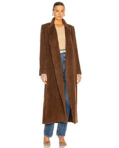 Alpaca Wrap Coat in Brown