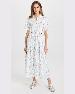 Jeanne striped double-breasted cotton-blend blazer