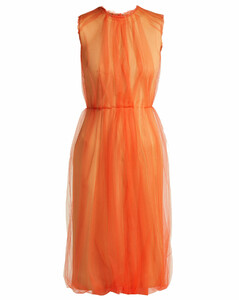 Jersey and tulle sleeveless dress