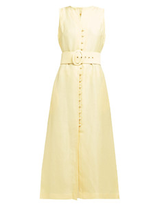 Gia button-front linen-blend dress