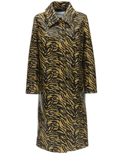 Elyssa Printed Faux Leather Trench Coat