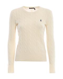 Cream cable knit merino and cashmere sweater