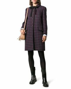wool check-print coat