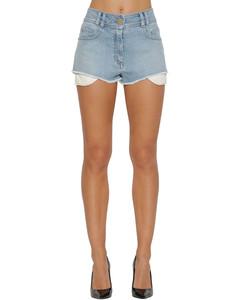 High Waist Logo Cotton Denim Shorts