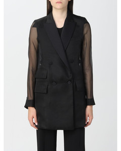 Puffed sleeves coat in camel color