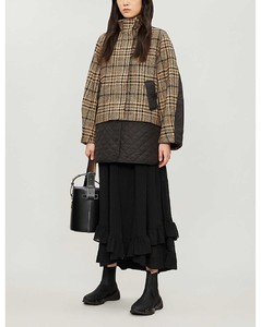 Checked oversized wool and shell jacket