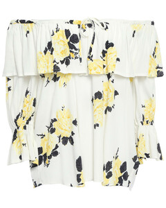 Woman Silvery Off-the-shoulder Ruffled Floral-print Crepe Top