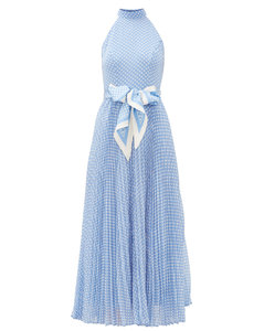 Super Eight halterneck polka-dot crepe dress