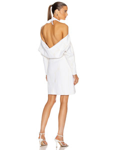 Jacquard Long Sleeve Bandana Neck Dress in White