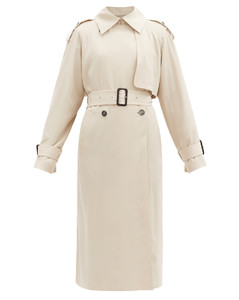 Yeli double-breasted maxi trench coat