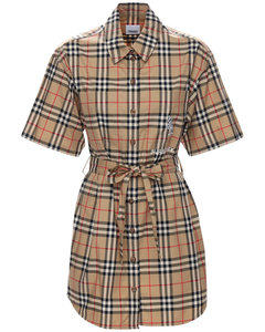 Vintage Check Cotton Twill Shirt Dress