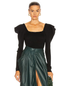 Chocolat Embellished Bodysuit in Black