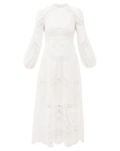 Bonita floral-crochet linen-blend dress