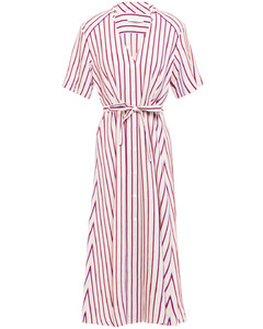 Clarence striped twill midi shirt dress