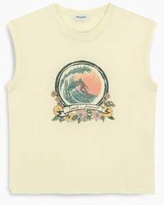 Yellow print sleeveless t-shirt