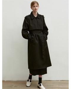 Oversized Double Trench Coat (Black)