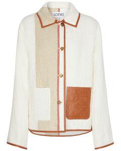 亚麻与棉质皮革边饰夹克