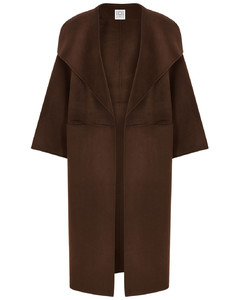 Annecy brown wool and cashmere-blend coat