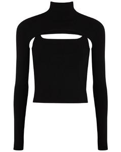 Stirrup black stretch-jersey top