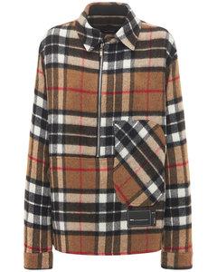 Zip-up Checked Wool Shirt Jacket