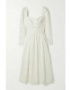 Gathered Taffeta Midi Dress