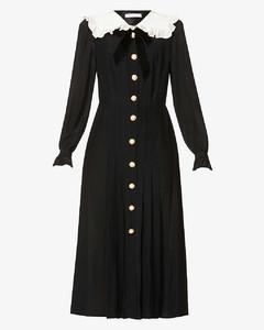 Ruffled long-sleeved silk dress
