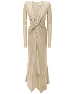 Deep V Neck Jersey Long Sleeve Dress