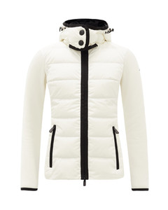 Logo-patch jersey-sleeve quilted down jacket