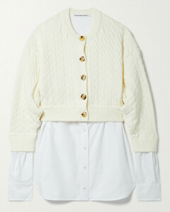 Layered Cotton-blend And Cotton Oxford Cardigan