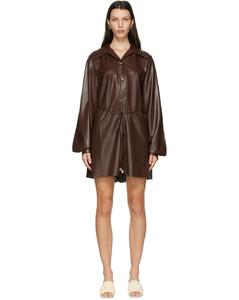 棕色Joy纯素皮革连衣裙