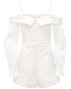 Off-the-shoulder Embroidered Romper