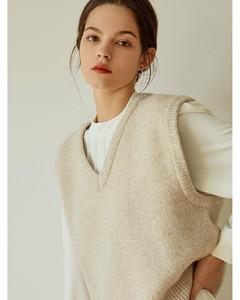 (PRE-ORDER) Simple Wool Knit Vest_BEIGE