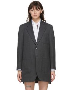 灰色Sack大廓形羊毛人字纹大衣
