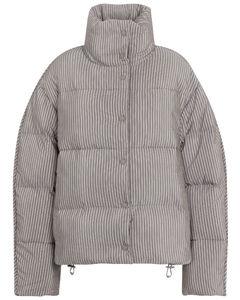 条纹棉质混纺羽绒夹克