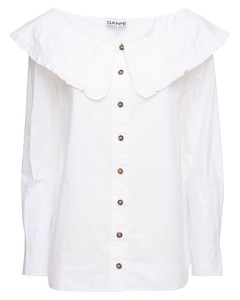 Ruffled Organic Cotton Poplin Shirt