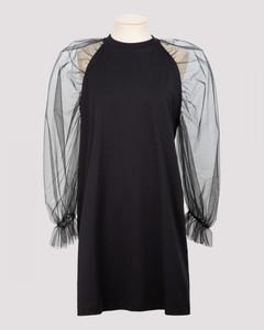 Black cotton mini dress