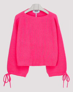 Neon pink ribbed wool blend sweater