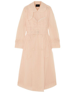 Woman Ruffled Embellished Tulle Trench Coat