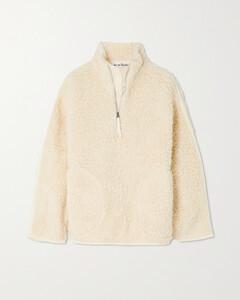Oversized Twill-paneled Fleece Half-zip Sweatshirt