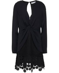 Woman Lace-trimmed Crochet-paneled Twisted Cady Mini Dress