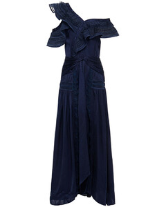 Woman Lace-trimmed One-shoulder Satin-jacquard Maxi Dress