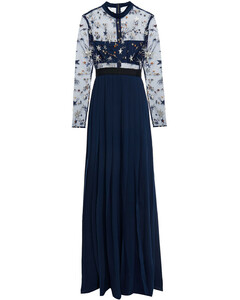Woman Embellished Tulle-paneled Pleated Crepe Gown