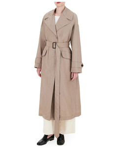 Technical cotton rainproof taffeta trench coat