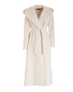 Piadena hooded coat in ivory color