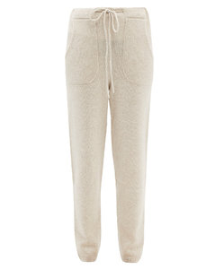 Drawstring-waist cashmere track pants